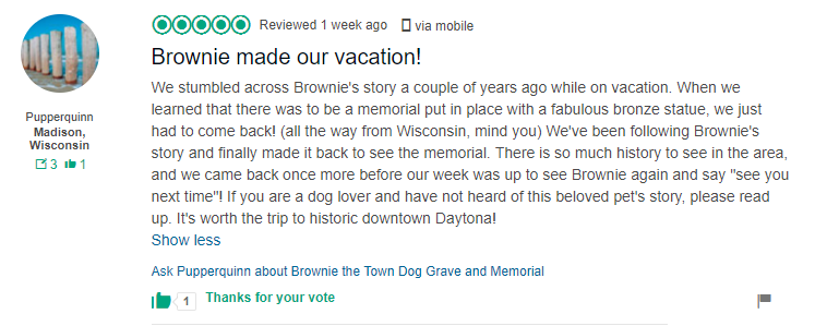 Tripadvisor review of Brownie the Town Dog Daytona Beach
